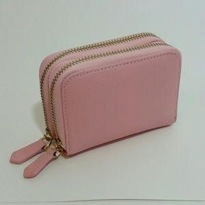 Handbags - Light pink accordion wallet with double zip